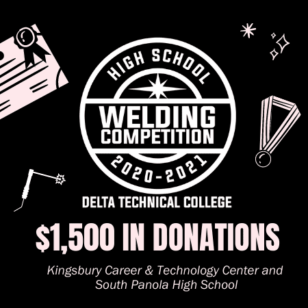 Delta Technical College Presents $1,500 in Donations to Local High School Welding Departments